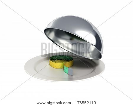 Concepts For A Healthy Food Measure Tape In Restaurant Cloche With Open Lid 3D Render No Shadow