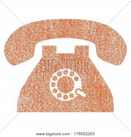 Pulse Phone vector textured icon for overlay watermark stamps. Fabric orange vectorized texture. Symbol with dirty design. Rubber seal stamp with fiber textile structure.