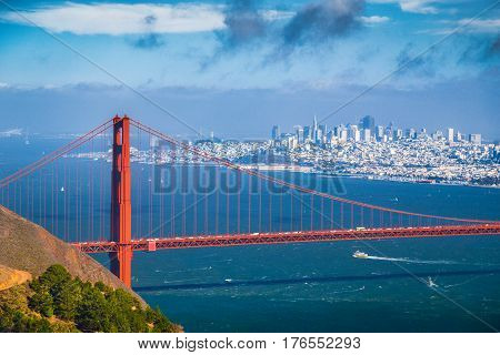Golden Gate Bridge With San Francisco Skyline In Summer, California, Usa