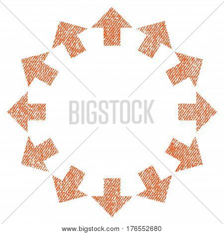 Radial Arrows vector textured icon for overlay watermark stamps. Fabric orange vectorized texture. Symbol with unclean design. Rubber seal stamp with fiber textile structure.