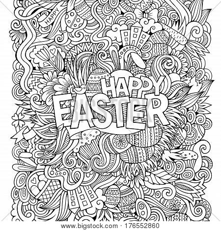 Cartoon hand-drawn doodles Happy Easter background. Line art detailed, with lots of objects vector card design