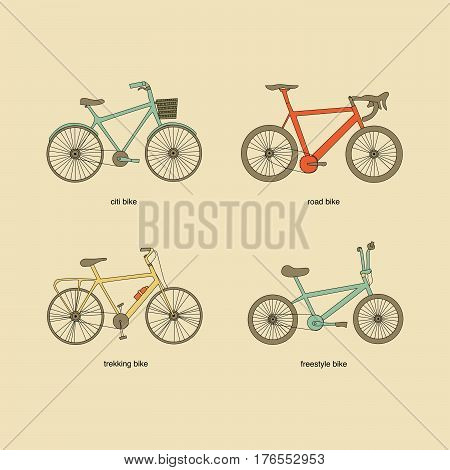 Citi bike road bike trekking bike freestyle bike vector icons. Vintage color elements.