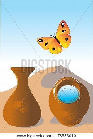 Vector illustration. Jug with water and butterfly in summer on a background sand dunes. Two foreshortening of jug.