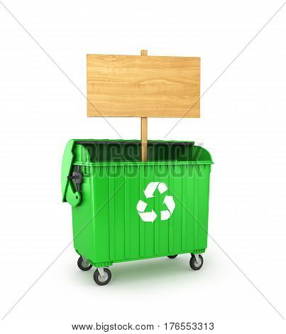 wooden empty sign in a trash can isolated on a white background. 3D illustration