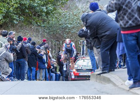 Conflans-Sainte-HonorineFrance-March 62016: The Belgian cyclist Thomas De Gendt of Lotto-Soudal Team riding during the prologue stage of Paris-Nice 2016.