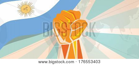 Argentina fight and protest independence struggle rebellion show symbolic strength with hand fist illustration and flag vector