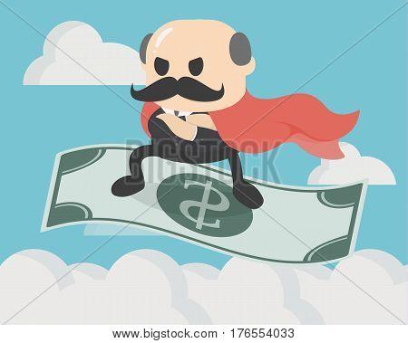 illustration businessman standing on money flying eps.10