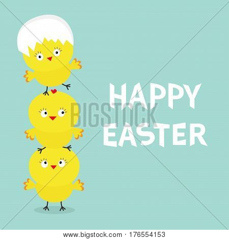 Chicken pyramid family set. Egg shell on head. Happy Easter. Cute cartoon funny character. Three baby chick bird friends. Greeting card. Blue background. Flat design. Vector illustration