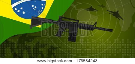 Brazil military power army defense industry war and fight country national celebration with gun soldier jet fighter and radar vector