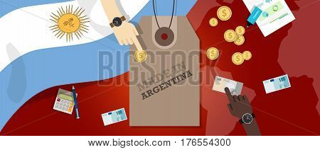 Made in Argentina price tag illustration badge export patriotic business transaction vector