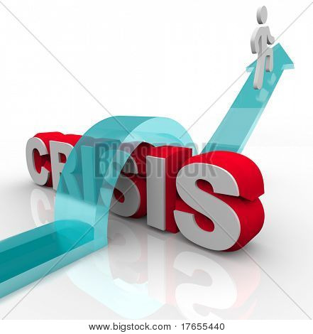 A man rides an arrow over the word Crisis, symbolizing overcoming an emergency with a disaster plan