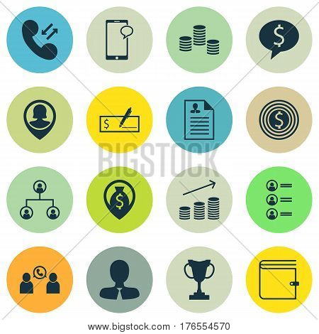Set Of 16 Management Icons. Includes Cellular Data, Money Navigation, Tree Structure And Other Symbols. Beautiful Design Elements.