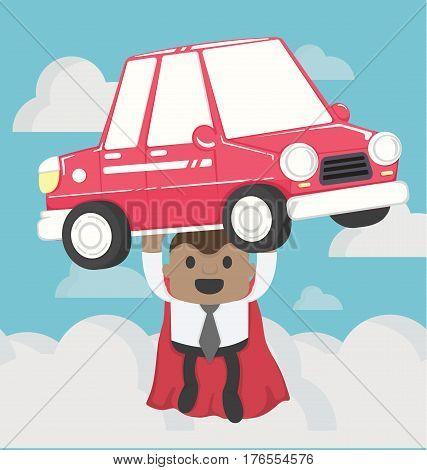 illustration  Super businessman carrying car.Concept Car loans