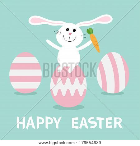 Rabbit with carrot sitting on painting pink egg shell. Happy Easter bunny and three egg set. Farm animal. Cute cartoon funny character. Greeting card. Blue background. Flat design. Vector illustration