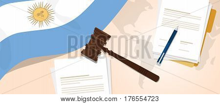 Argentina law constitution legal judgment justice legislation trial concept using flag gavel paper and pen vector
