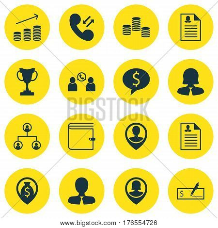 Set Of 16 Management Icons. Includes Money, Coins Growth, Phone Conference And Other Symbols. Beautiful Design Elements.
