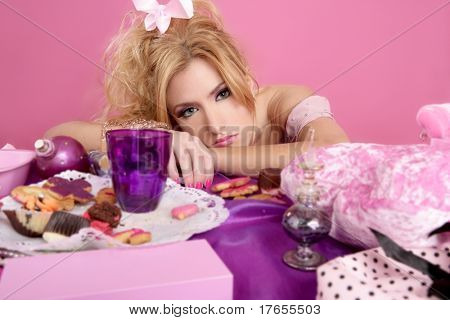 end party pink princess fashion woman tired on messy table