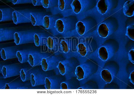 Construction steel rod, blue abstract fone background