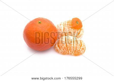 Isolated tangerines. Collection of whole tangerine or clementine fruits and peeled segments isolated on white background with clipping path