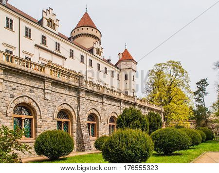Konopiste Castle with beautiful garde. Historical meadieval chateau in central Bohemia, Czech Republic, Europe.
