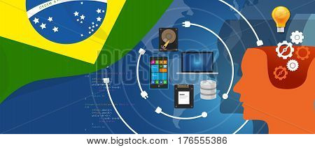 Brazil IT information technology digital infrastructure connecting business data via internet network using computer software an electronic innovation vector