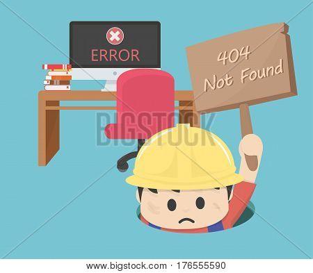 404 not found computer error eps. 10