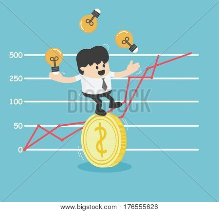 businessman trying to stand a dollar coin Vector eps10