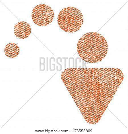 Redo vector textured icon for overlay watermark stamps. Fabric orange vectorized texture. Symbol with unclean design. Rubber seal stamp with fiber textile structure.