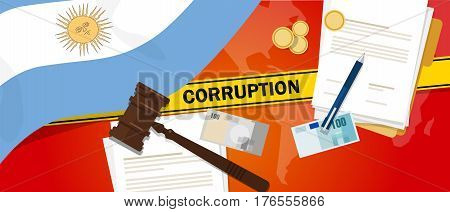 Argentina corruption money bribery financial law contract police line for a case scandal government official vector