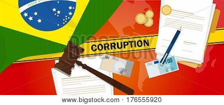 Brazil corruption money bribery financial law contract police line for a case scandal government official vector