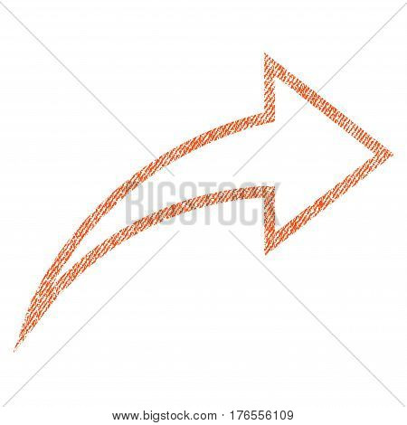 Redo vector textured icon for overlay watermark stamps. Fabric orange vectorized texture. Symbol with dust design. Rubber seal stamp with fiber textile structure.