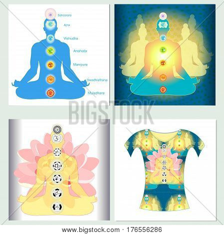 Set design t-shirt india meditation yoga chakra Vector illustration