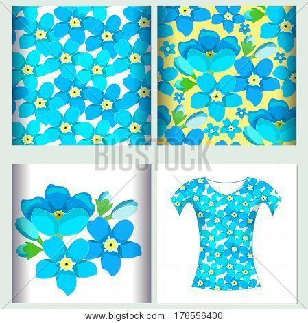 Set for t-shirt design seamless pattern of forget-me-alpine flower vector illustration