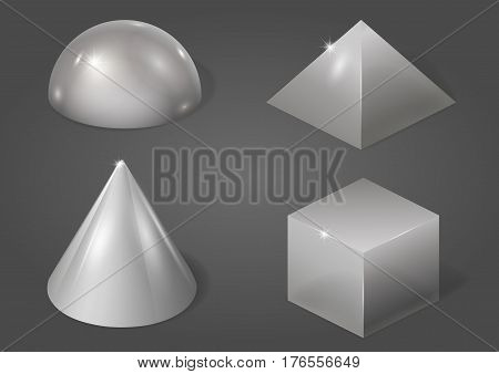 Set of different metal shapes. Vector graphics