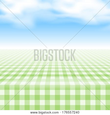 Empty picnic table covered with checkered gingham tablecloth. Clear blue sky background. Summer picnic background for product presentation Vector illustration. Green gingham pattern