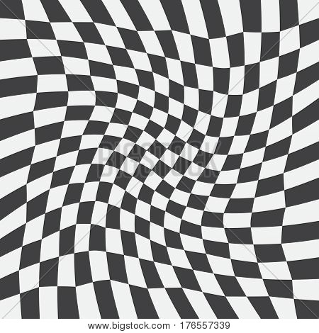 Unequal twisted checks abstract checkered background. Vector illustration. Background with black and white checkered racing flag. Opt Art.