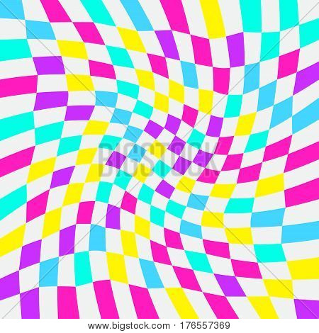 Unequal twisted multicolor checks abstract colorful checkered background. Vector illustration. Opt Art.