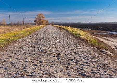 Autumnal landscape with an old cobblestone road Poltavskaya oblast Ukraine