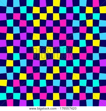 Unequal multicolor checks abstract colorful checkered background. Vector illustration. Seamless vector pattern. Opt Art.