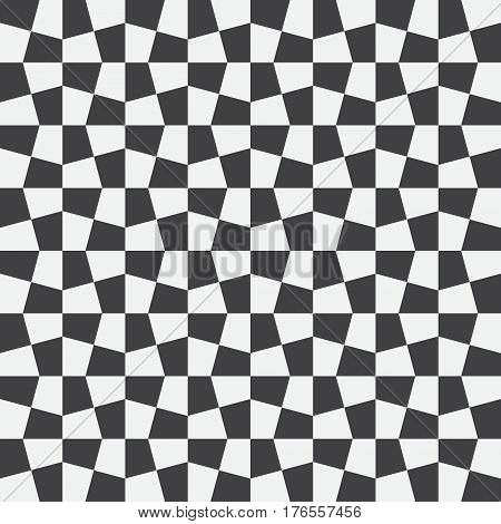 Unequal checks abstract checkered background. Vector illustration. Background with black and white seamless checkered pattern. Seamless vector pattern. Opt Art.