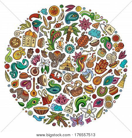 Colorful vector hand drawn set of Indian cartoon doodle objects, symbols and items. Round composition