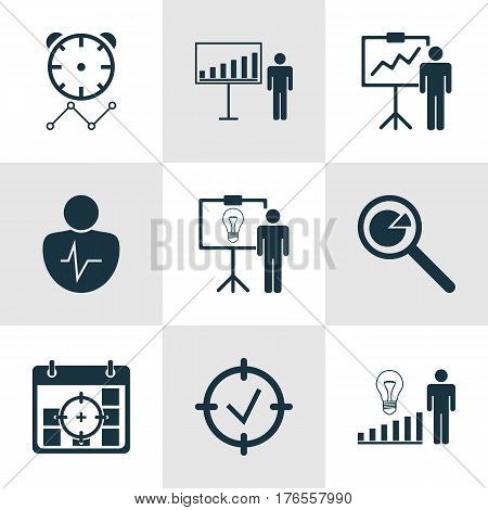 Set Of 9 Administration Icons. Includes Project Targets, Reminder, Decision Making And Other Symbols. Beautiful Design Elements.