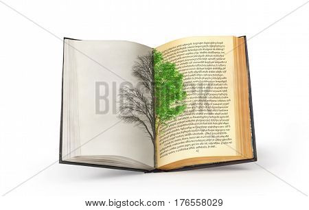 The concept of reading. Dual tree published in an open book. The concept of acquiring knowledge.