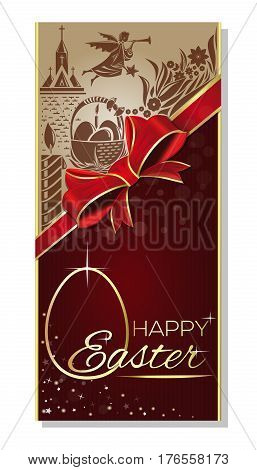 Easter greeting card. Festive Easter background with basket of Easter eggs, church, flying angel, red ribbon and bow and inscription - Happy Easter. Vector illustration