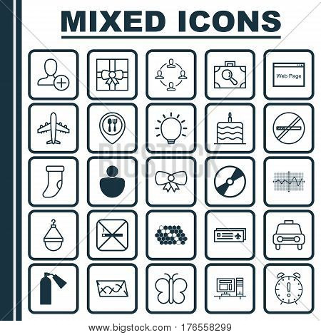 Set Of 25 Universal Editable Icons. Can Be Used For Web, Mobile And App Design. Includes Elements Such As Cd-Rom, Time Management, Taxi And More.