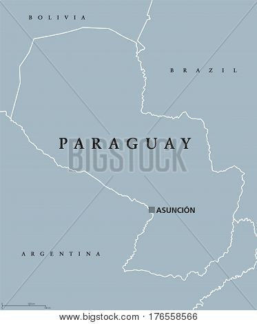 Paraguay political map with capital Asuncion, national borders and neighbors. Republic and landlocked country in South America. Gray illustration isolated on white background. English labeling. Vector