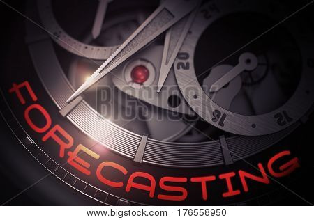 Gears and Mainspring in the Mechanism of a Watch with Forecasting on Face of It. Fashion Pocket Watch Machinery Macro Detail and Inscription - Forecasting. Work Concept with Lens Flare. 3D Rendering.