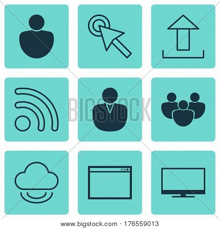 Set Of 9 Internet Icons. Includes Program, Human, Send Data And Other Symbols. Beautiful Design Elements.