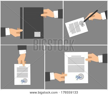 Signing contract stages picture collection on grey background. Vector poster of hands holding dark folder, writing signature by pen on white paper with text, passing documents to another hand