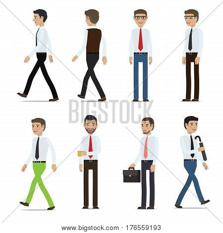 Businessmen cartoon characters collection. Men in business casual clothing with various emotions on faces and objects in hands flat vector isolated on white. Office clerks set for business concept